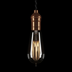 Vintage luminous bulb on black background. 3D rendering.