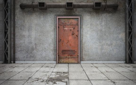 Dark concrete walls room with old door. 3d rendering