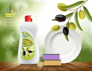 Dishwashing liquid soap with olive