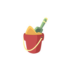 Bucket full of sand and shovel in it - summer beach and sandbox children toy isolated on white background. Cartoon vector illustration of plastic game pail for summertime vacation.