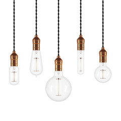 Set of vintage glowing light bulbs on white background. 3D rendering.