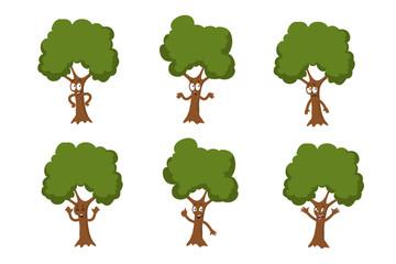 Cartoon funny green tree vector characters isolated