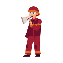 Firefighter in red protective uniform and helmet stands holding loudspeaker in hand and informs people about fire and danger isolated on white background. Flat cartoon character, vector illustration.