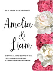 Vector floral banner with pink hydrangeas, peonies in watercolor style.Greenery botanical template with text place for wedding invitation, greeting, card,covers, poligraphy, parfume,cosmetics