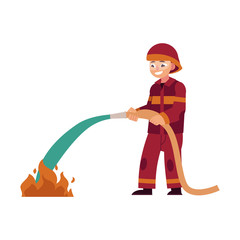 Fireman in red protective uniform and helmet stands holding hose and extinguishing fire with water isolated on white background. Flat cartoon vector illustration of male rescue worker.
