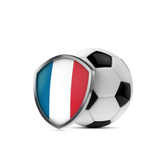 France national flag shield with a soccer ball. 3D Rendering