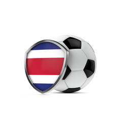 Costa Rica national flag shield with a soccer ball. 3D Rendering