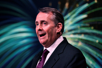 Britain's International Trade Secretary Liam Fox gives a speech  in London