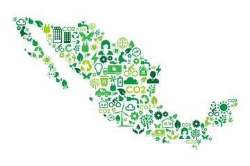 Mexico map environmental protection green concept icons