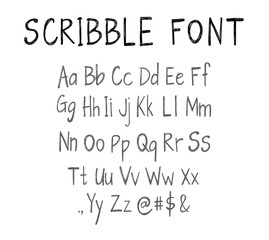 Scribble font template, VECTOR script.