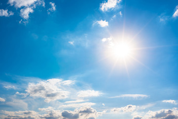 Summer background, blue sky with white clouds and sun