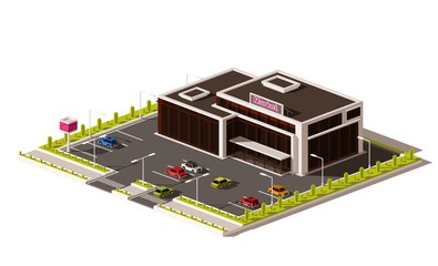 Vector non isometric low poly supermarket. Grocery store building