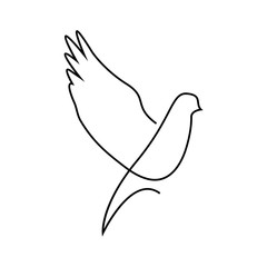 One line dove flies design silhouette.Hand drawn minimalism style vector illustration