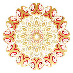 Floral Gold and Red Round Ornament