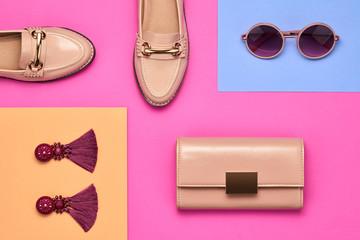 Fashion Design Woman Accessories. Pop Art Colors
