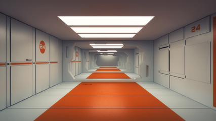 3D render. Futuristic science fiction interior corridor