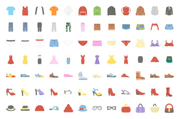 Clothes flat icon vector pack