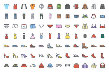 Clothes colored icon vector pack