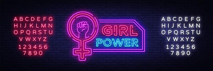 Girls Power neon sign. Fashionable slogan feminist slogan, neon style banner light, night bright sign. Vector illustration. Editing text neon sign