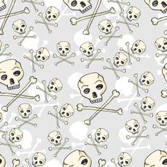 seamless pattern of skulls and crossbones