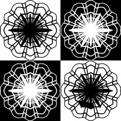 Four decorative flowers in a black - white cell