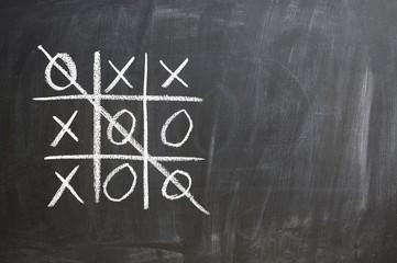 Tic-tac-toe game on chalkboard