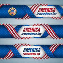 Set of web banners with texts, badge and American flag colors for Fourth of July, American Independence day, celebration; Vector illustration
