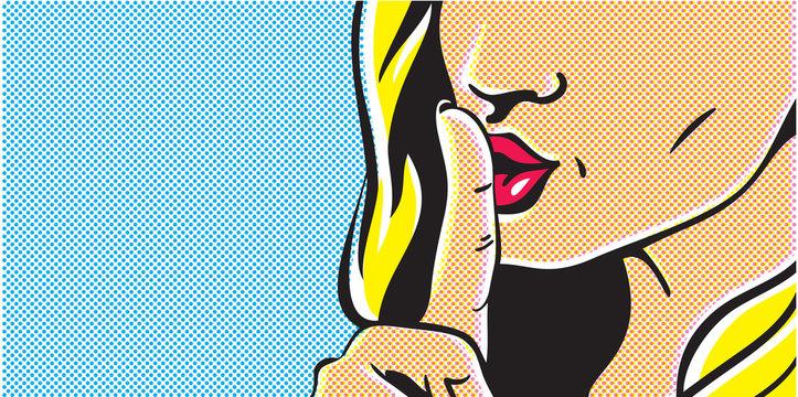 Pop art shhh woman, woman with finger on lips, silence gesture, pop art style woman banner, shut up