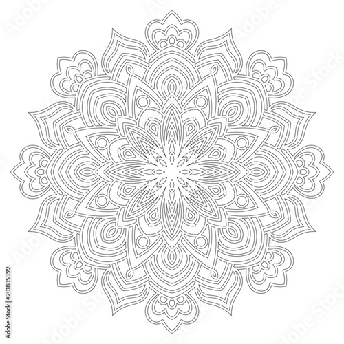 Ornamental round doodle flower of extra thin lines isolated