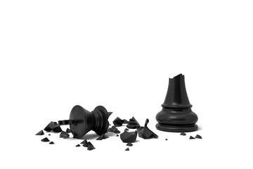 3d rendering of a completely broken black chess king lies in rubble on a white background.
