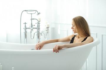 Beautiful woman in bathroom