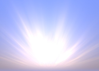 Morning Background with Sunbeams over Blue Sky - Colored Illustration, Image