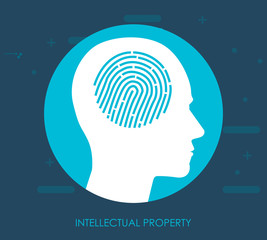 The patent idea is protected. Icon of intellectual property. Sign of private property