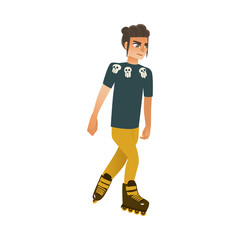 Young man roller skating isolated on white background - cartoon guy rollerblading for summer active rest concept. Vector illustration of male character on summertime leisure.
