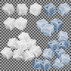 White and light blue ice cubes on transparent background, vector illustration.