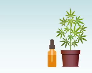 Marijuana plant and dropper with CBD oil. Cannabis Oil. Medical marijuana. CBD oil hemp products. Oil glass bottle mock up. Cannabis extract. Vector illustration with copy space.