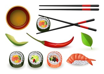 Sushi japanese seafood set with fresh rolls and ebi nigiri, soy sauce in bowl and chopsticks, ripe avocado and chili pepper isolated on white background. Realistic vector illustration.