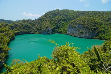 The Emerald Lake(Lagoon) in the Ang Thong National Marine Park near Koh Samui, Thailand. This is a popular tourist attraction.