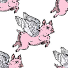 Flying winged pig seamless pattern.
