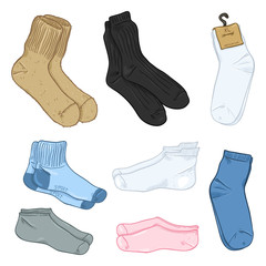 Vector Cartoon Set of Different Style Socks.