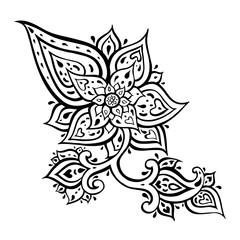 Abstract Flower. Hand Drawn Boho ornament. Vector illustration
