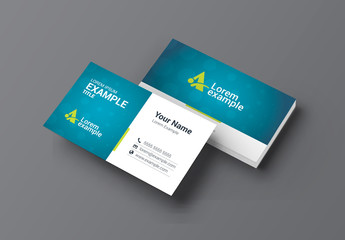 Blue and Green Business Card Layout with Bokeh Background
