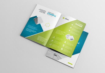 Blue and Green Brochure Layout with Bokeh Background