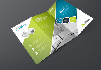 Blue and Green Trifold Brochure Layout with Bokeh Background