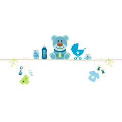 Teddy & Baby Symbols Boy Blue