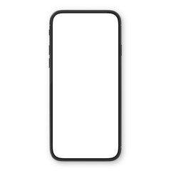 Black smartphone with blank white screen. High detailed realistic smartphone mockup. Mobile front view display template.