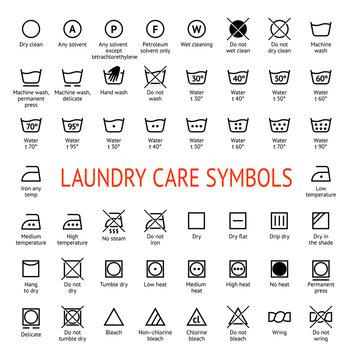 Laundry Care symbols. Cleaning icons set. Washing instruction pictograms.