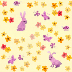 Seamless childish swatch with cute flowers, aquarelle butterflies, hand painted rabbit