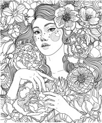 vector black and white coloring illustration, girl among flowers, openwork line, ornament and background texture