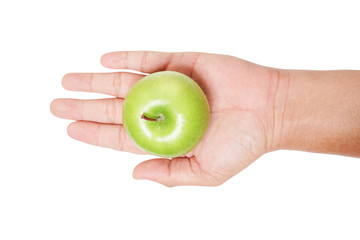 woman holding a ripe green apple on outstretched hand isolated on white background, the top view